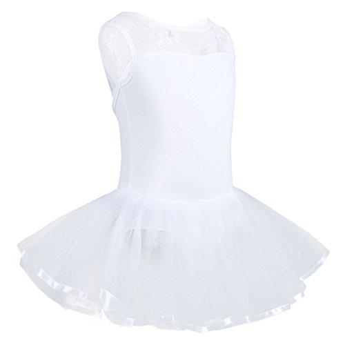 der Ballettkeider Ballettanzug Turnanzug Trikot Tanz Leotard Kleider mit Tüll Rock Weiß Ballettkleid 98-104/3-4 Jahre (Tanzen Kostüme Für Kinder)