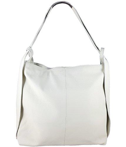 Freyday 2in1 Damen Handtasche Rucksack Designer Luxus Henkeltasche aus 100{8dcdafdd5fa0f804f139adbbfa50dc2e0f947f95e0977383b3439ac313f95e45} Echtleder (Weiß)