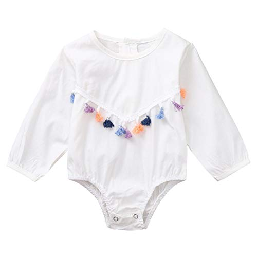 Jumpsuit,Neugeborenes Baby Overall Long Sleeves Langarmshirt Romper Spleißen Quasten Strampler Kinder Kleidung Moginp (80, Weiß)