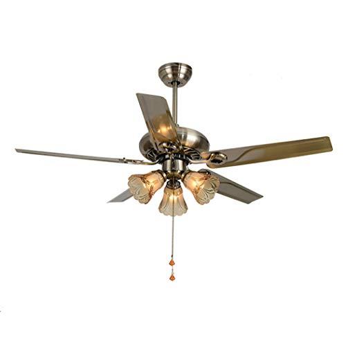 Downrods 4 (LeiLight moderner Deckenventilator42 Zoll Vintage Fan Kronleuchter 4-Lights Fernbedienung 4 Holz/Eisen Klingen Deckenventilator Licht für Schlafzimmer Wohnzimmer Küche,Ironleaf)