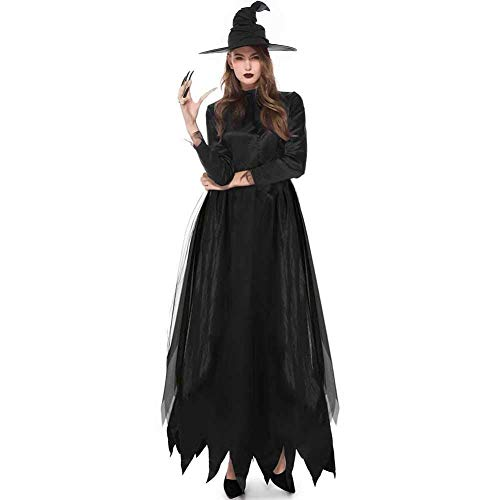 GWNJSSX Halloween Party Cosplay Scary Sexy Wicked Witch Kostüm Maskerade Kostüm Mit Hut Loose Plus Size,Black-M
