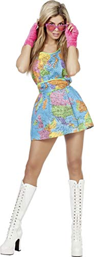 Globus Kostüm Damenkostüme Damen Karneval Fasching Kleid Gürtel Bunt (Globus Kostüm)