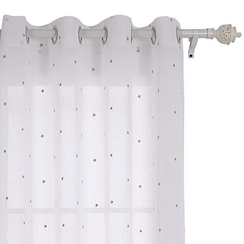 Deconovo tenda voile ricamate stella pattern tenda trasparente con occhielli per bambini 140x180 cm grigio un pannello