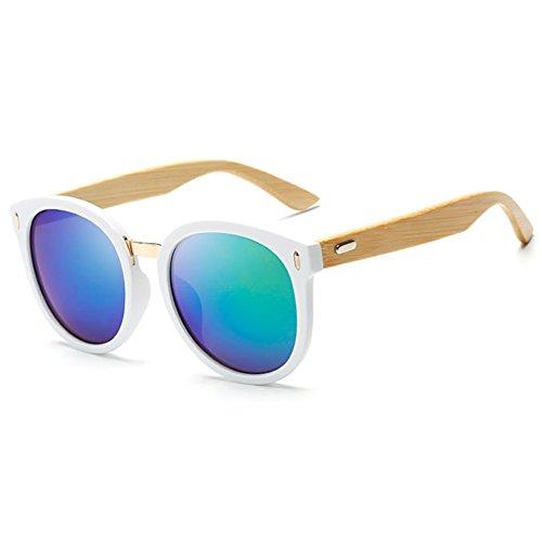 Highdas Femme Homme Lunettes de soleil Vintage Bamboo Arms Eyewear Plastist Lens Noir/Vert