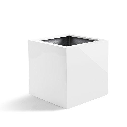 """Pflanzkübel """"Argento Cube"""" Weiß Hochglanz Quadratisch Fiberglas *2 Jahre Garantie* - 30x30x30cm - F019"""