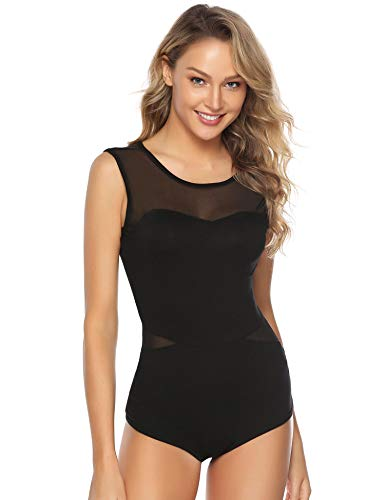 Abollria Damen Bodysuit Weich Stretch Ärmellos Body mit Transparente Teile Luftig Rundhals Shirtbody Top für Sommer,Schwarz,XXL