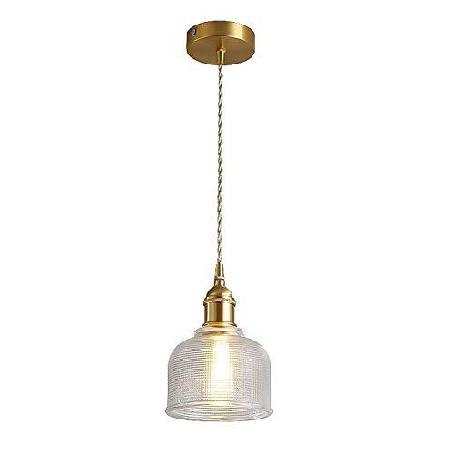 Candelabro postmoderno Lámpara de suspensión de vidrio ajustable en altura Sala de estar Restaurante Restaurante Hogar for la lámpara colgante de techo de latón moderno -E27 Socket 1 Light