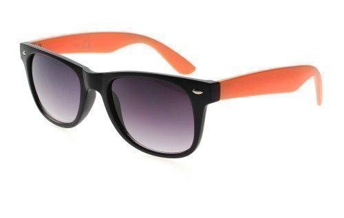 Sense42 RETRO SONNENBRILLE ORANGE Nerdbrille Wayfarer-Stil schmale Gläser mit farbigen Bügel Damen...