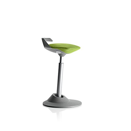 Aeris Muvman Stool | Office Ergonomic Stool Chair for Active Standing/Sitting | GREY BASE – Colour, Height Options (STANDARD HEIGHT, GREEN)