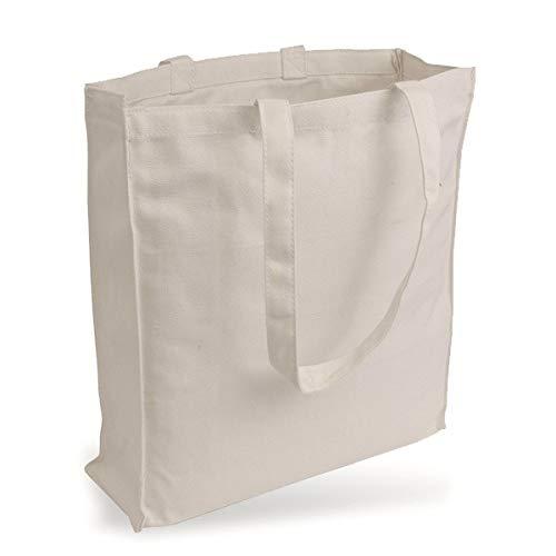 Yute Bolsa Bolsa de Lona de Jeans Similar plástico (Muy Robusto y Resistente.) sin Texto Impreso y Dos Asas largas con Pliegue de páginas de & Natural 38x 42x 10cm 1Pieza
