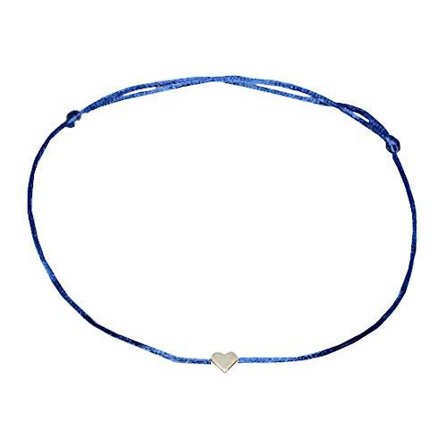 SelfmadeJewelry Damen-Fusskettchen aus Satinband in blau mit Herz in Silber größenverstellbar handgemacht