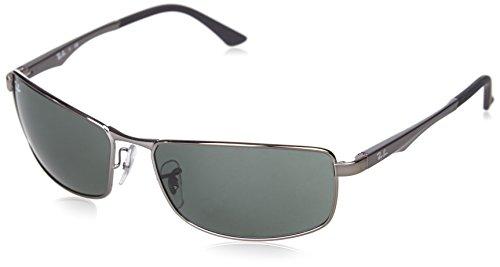 Ray-Ban Unisex Sonnenbrille Rb 3498 Grau (Gestell: Gunmetal, Gläser: Grün Klassisch 004/71)), X-Large (Herstellergröße: 61)