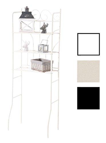 CLP Überbau-Regal Pinar, Eisen Badregal ca. 60 x 35 cm, Höhe 165 cm, 3 Böden, Landhaus-Stil Creme