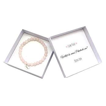 Patentante Armband in Schachtel, Perlenarmband mit Herz