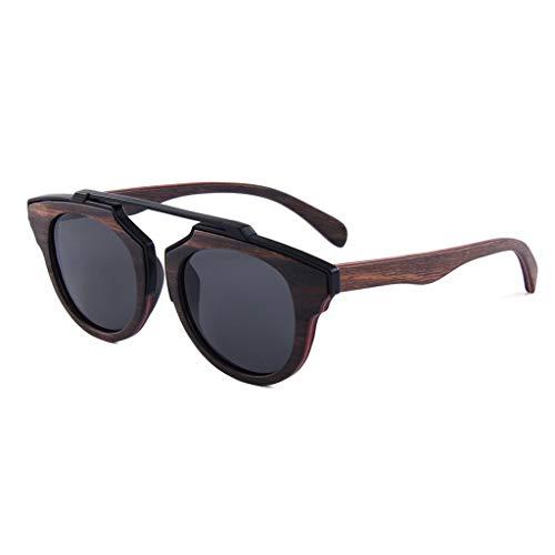 Sonnenbrille aus polarisiertem Naturholz Metall Mezzaninholz Retro-Rundrahmen Fahren im Freien UV400 Anti-UV-Schutzbrille (Farbe: graue Linse)