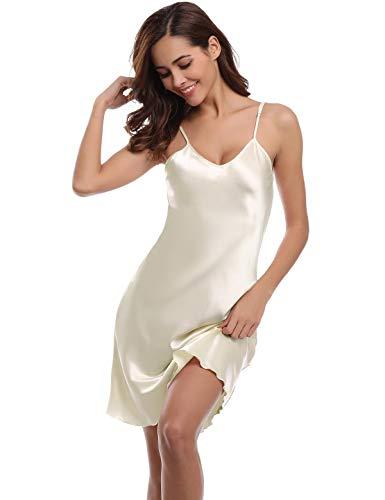 Abollria Damen Nachthemd Sexy Negligee Frau Sommer Nachtwäsche Satin Kleid Lingerie Klassische Bequem Nachtkleid V Ausschnitt Sleepwear Unterwäsche Kollektion Sommer Kleid Set