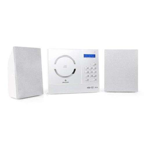 Auna Vertical 130 Stereoanlage CD MP3 Kompaktanlage mit USB (USB-SD-Slot, Fernbedienung, UKW-Radio, Uhr mit Weckfunktion) Wandmontage weiß