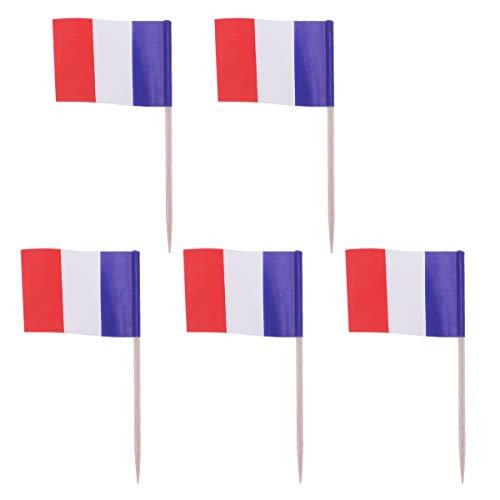 Vosarea 100 stücke Frankreich Flagge Cupcake Topper Holz Zahnstocher Kuchendeckel Picks Cocktail Sticks für Party Kuchen Dekoration Lieferungen