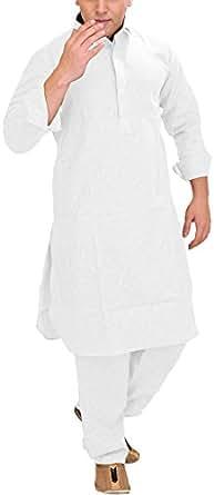 Exotic India Plain Pathani Kurta Salwar with Thread Embroidery on Neck - Color Chic WhiteGarment Size 36