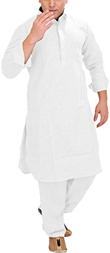 Exotic India Men's Plain Pathani Kurta Salwar with Thread Embroidery on Neck...