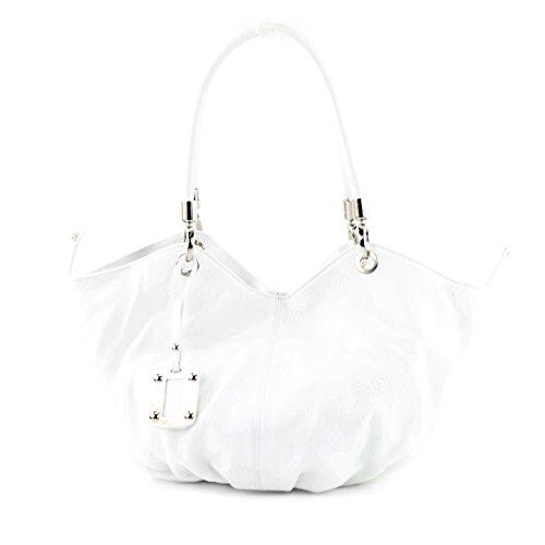 modamoda de - ital. Ledertasche Damenhandtasche Beuteltasche Schultertasche Leder 228 Weiß