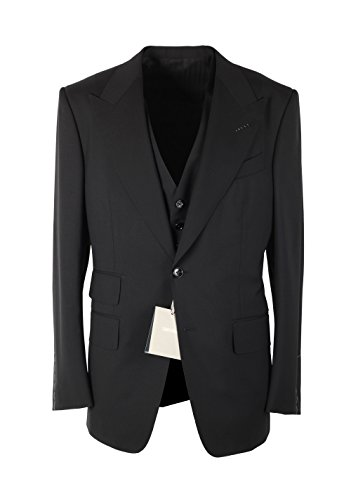 CL - Tom Ford Windsor Black 3 Piece Suit Size 50/40R U.S. Wool Fit A