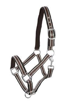 PFIFF Kunststoffhalfter, unterlegt, braun-weiß-schwarz Pony