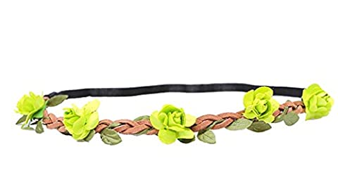 WTB 1PC Girls Flower Fairy Bohemian Braid Wedding Beach Tiara Crown hair headband (Green)