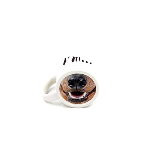 XKJFZ Kühler Vorne Funny Dog-Becher-Schale Keramische Schale des Kreativen Geschenk-Teacups Mark Trinkbecher Tassen Milch Porzellan Espressotasse Nase Dog Coffee