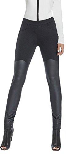 luxuriöse Leggings, teilw. Lederoptik - bequem und elegant * Gr. S - XL * Leder-Look Leggins Damenhose Hose Damen Treggings Skinny (Jenny...