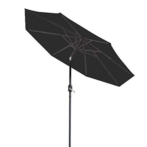 Greenbay Sonnenschirm 3m Schwarz mit Kurbel und Neigefunktion Kurbelschirm Gartenschirm Gartenschirm Marktschirm