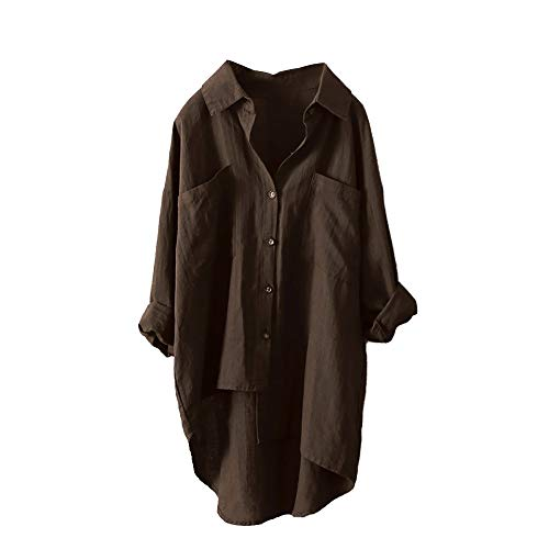 SHOBDW Damen Frühling Herbst Mode Simplicity Solid Rollhülse Langarm Baumwolle Lässig Shirt...