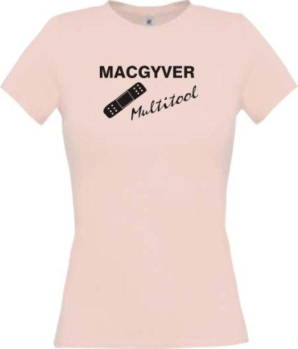 ShirtInStyle Lady-Shirt Mac Gyver Multitool Pflaster Funstuff, Farbe rosa, Größe (Kostüme Freestyle)