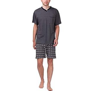 Moonline - Herren Shorty Schlafanzug Kurz Pyjama mit Karierter Hose, Größe:58/60 (XXL), Farbe:Anthrazit-Melange