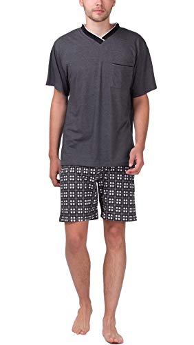 Moonline - Herren Shorty Schlafanzug Kurz Pyjama mit Karierter Hose, Größe:50/52 (L), Farbe:Anthrazit-Melange