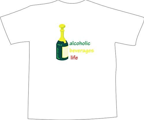 T-Shirt E220 Schönes T-Shirt mit farbigem Brustaufdruck - Logo / Grafik - minimalistisches Motiv - Sektflasche und Schriftzug Mehrfarbig