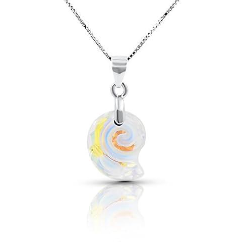 Collier avec pendentif en argent sterling avec Swarovski Aurora Borealis Cristal Snail - cadeau idéal pour les femmes et les filles - Livré avec boîte-cadeau