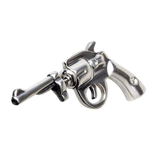 TIZIKJ Vintage Handmade Gun Single Studs Earrings for Men, 925 Sterling Silver Jewelry Nightclub Accessoires