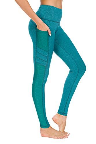New Mincc Leggings de Sport pour Femme Pantalon Yoga Fitness Minceur Long avec Poches Basique élastique Running Skinny, C Vert 1988 Fba, L