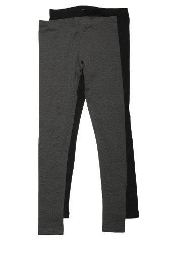 Baumwolle Spandex Leggings (Zenana Damen Outfitters Baumwolle Spandex Jersey Leggings, Mittel, Schwarz und Anthrazit)