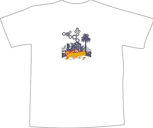 T-Shirt E439 Schönes T-Shirt mit farbigem Brustaufdruck - Logo / Grafik - minimalistisches Design - Skyline mit Palme und Zahnrädern als Verzierung Weiß