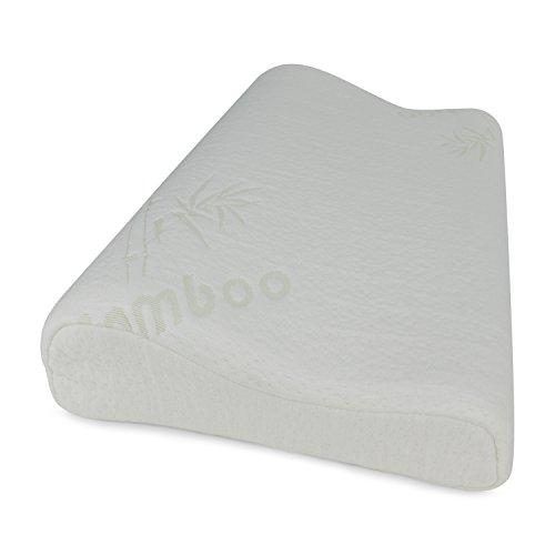 BetterSleepWell Nackenstützkissen mit 2x Bambus Naturfaser Kissenbezug (50x30 cm Höhe 10-7 cm, weiß)