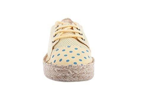 Sneaker con suola in juta 25mm Casimiro Perez linea Budva in micro-pois giallo pastello con pois verde smereldo