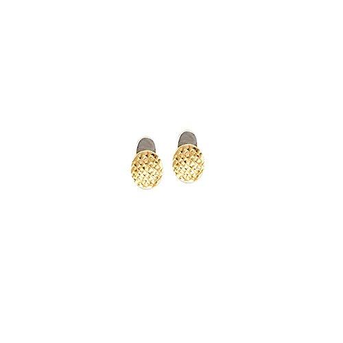 14ct Gelb und Weiß Gold Quilt Design Knopf Ohrringe