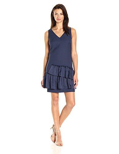 Eliza J Petite Damen Kleid mit V-Ausschnitt, Plissierter Saum, regulär und zierlich - Blau - 34 (Petite Kleid 0)