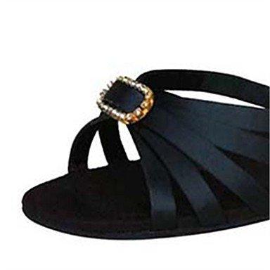 Silence @ Chaussures de danse pour femme en satin latine/Jazz/Chaussures de swing/Salsa Sandales/talons Noir/marron noir