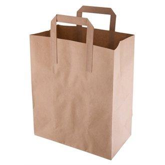 Take Away/café/brun recyclé Papier cas de sac-Taille M (Lot de 250) simple jetables services de restauration, idéal pour une utilisation professionnelle ou Parties