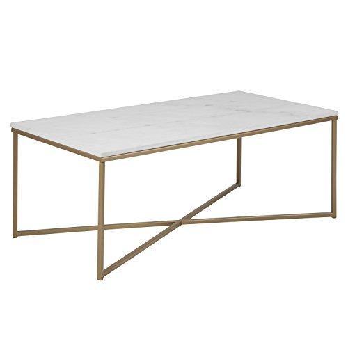 Attraktiv DES XL Couchtisch SELMA Wohnzimmertisch Tischplatte In Weißer Marmor Optik  Foliert Tisch Gestell Metall Messingfarben
