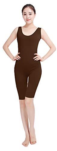 Insun Damen Ärmelloses Bodysuit Gymnastikanzug Ballettanzug Ganzkörperanzug aus Lycra Dunkelbraun - Gymnastikanzug Lycra Kostüm