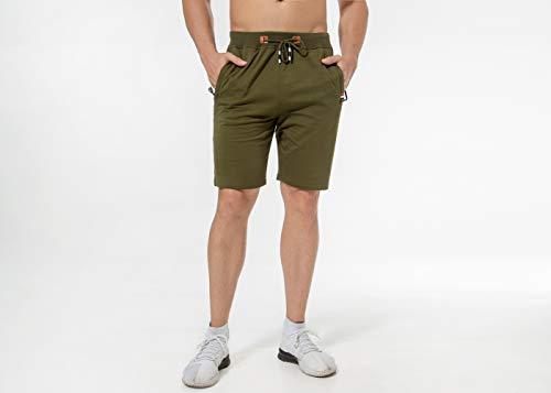 Chyu Herren Beiläufig Shorts Baumwolle Sport Jogger Classic Fit Sommershorts, elastische Taille Reißverschlusstaschen (Armeegrün, M) -